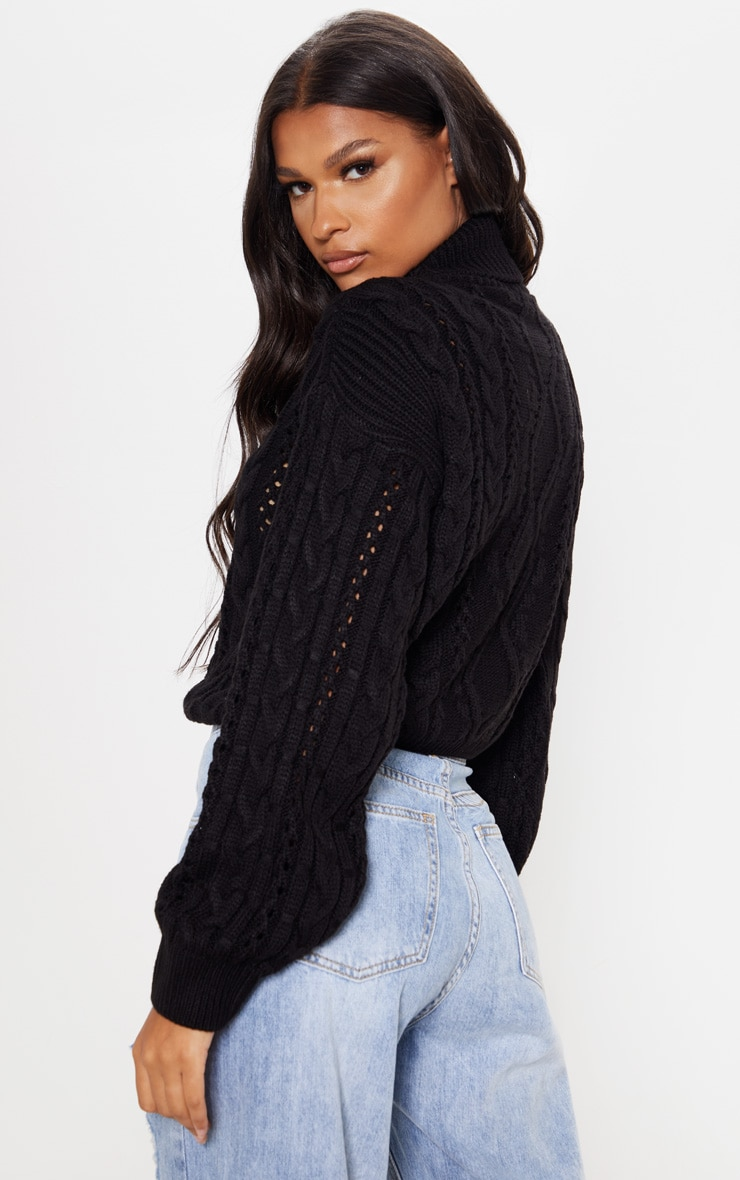 Black Cut Out Detail Roll Neck Jumper 2