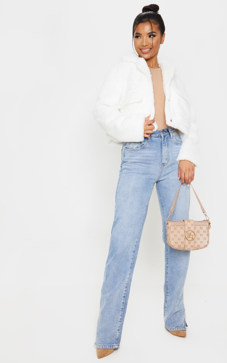 Cream Faux Fur Cropped Pocket Jacket 1