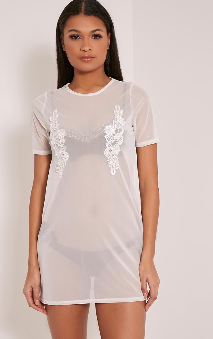 Cheska White Applique Detail Mesh T Shirt Dress 1