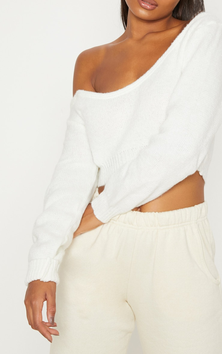 Cream V Neck Off Shoulder Knitted Cropped Sweater 5