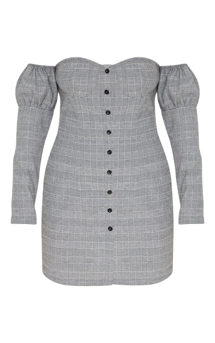 Robe droite boutonnée grise à imprimé carreaux et armatures 3