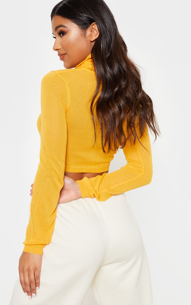 Orange  Knitted Light Weight High Neck Top  2