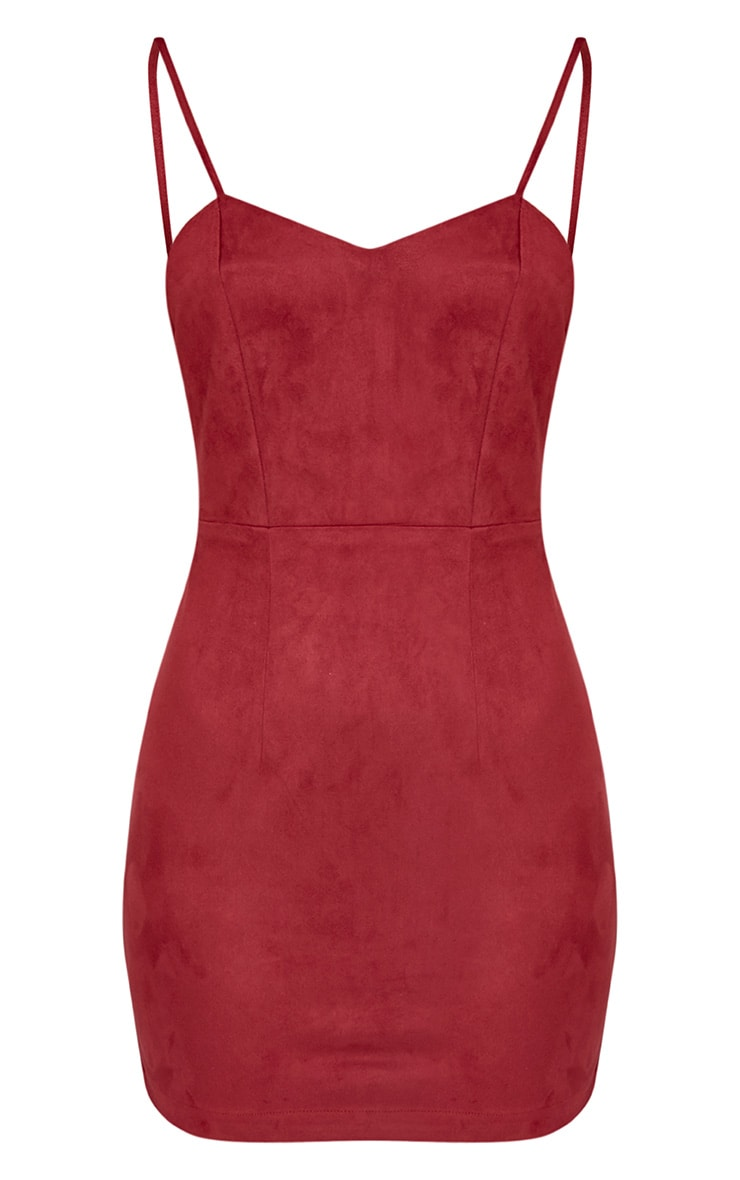 Elenar Burgundy Faux Suede Low Back Bodycon Dress 3