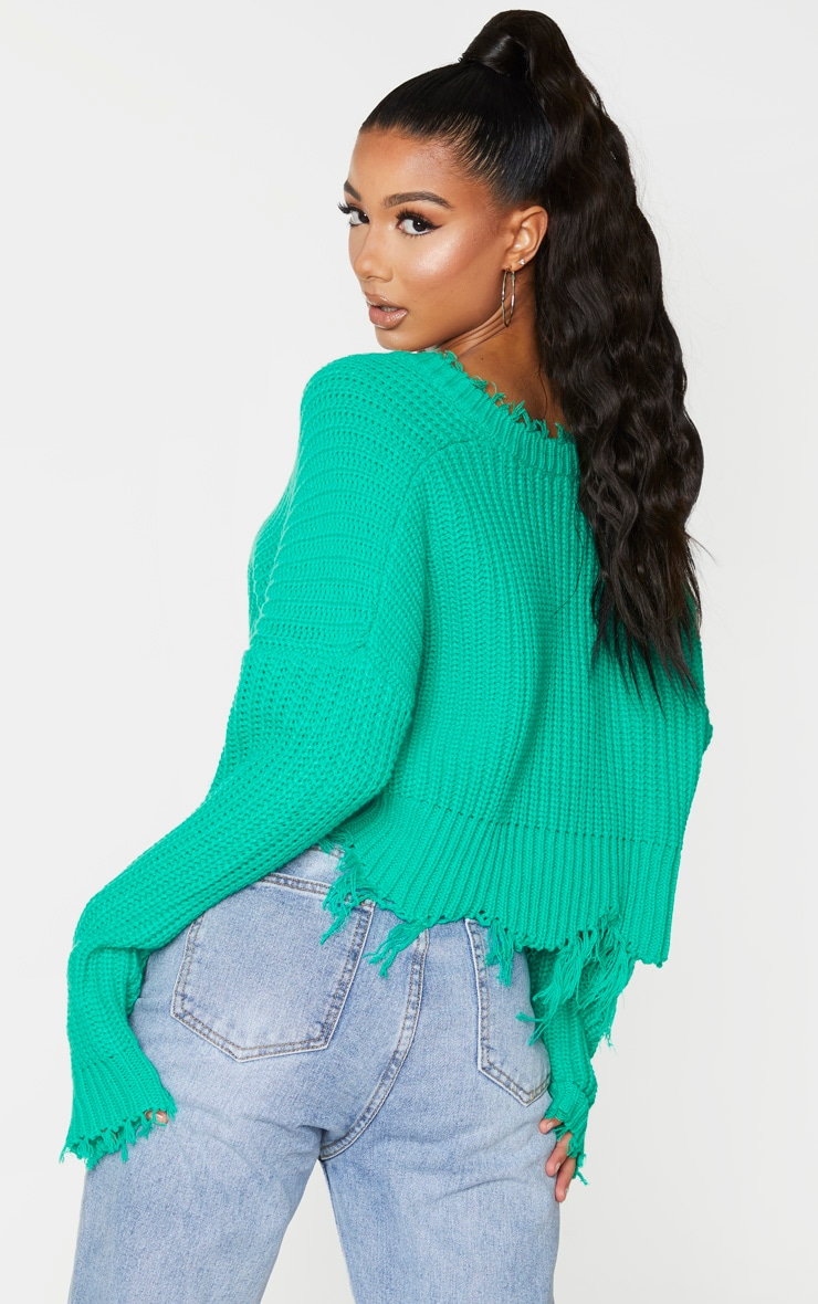 Green Fringe Hem Knitted Sweater 3