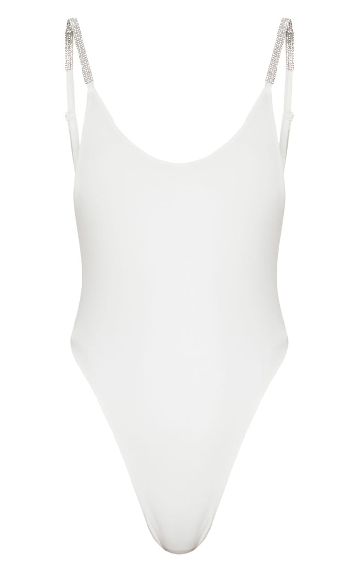 White Diamante Strappy Bodysuit 3