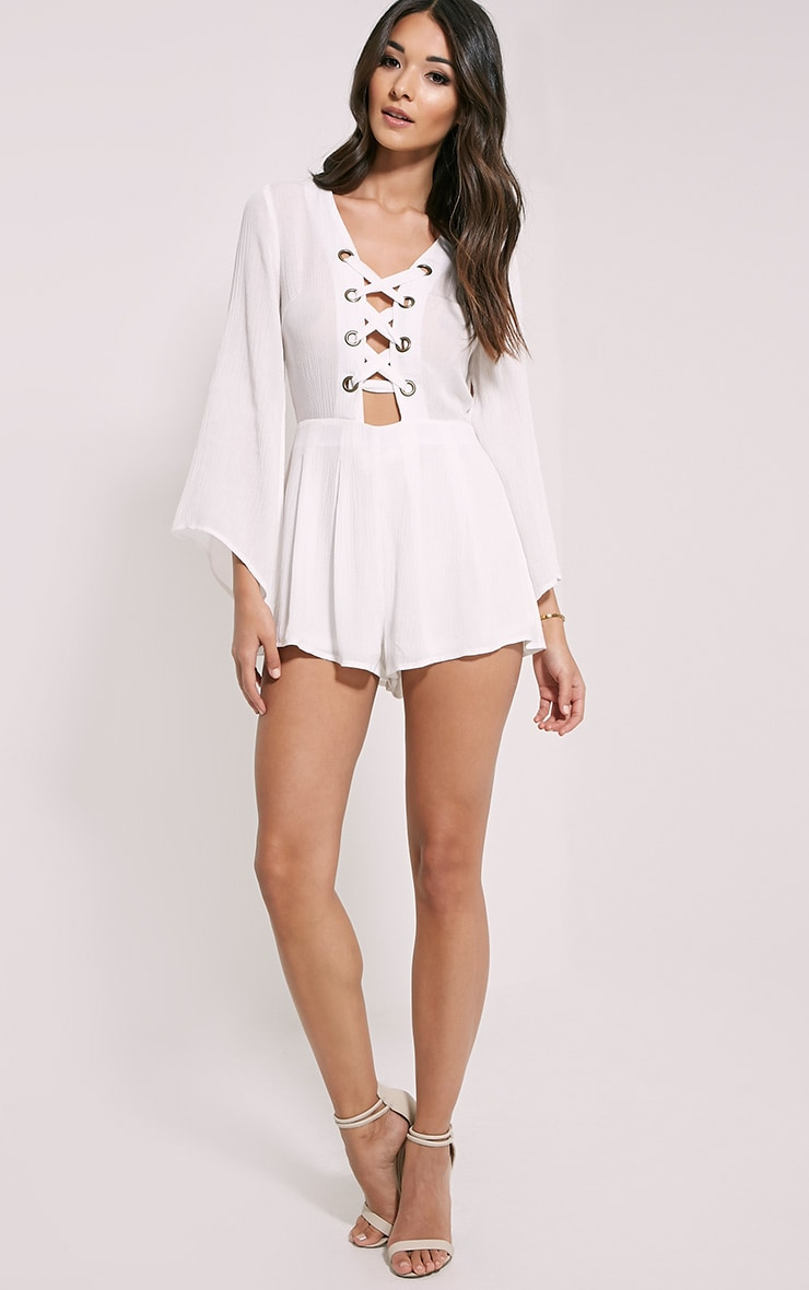 Clemence White Lace Up Detail Bell Sleeve Playsuit 3