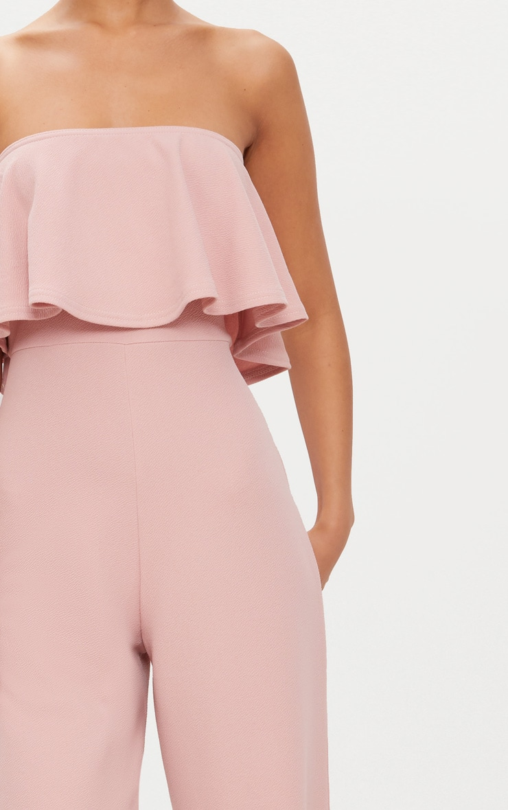 Dusty Pink Bardot Double Layer Culotte Jumpsuit 5