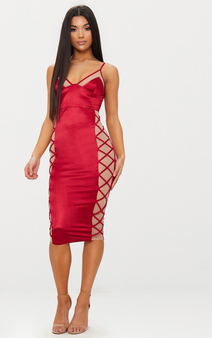 Dark Red Satin Lace Up Midi Dress 1