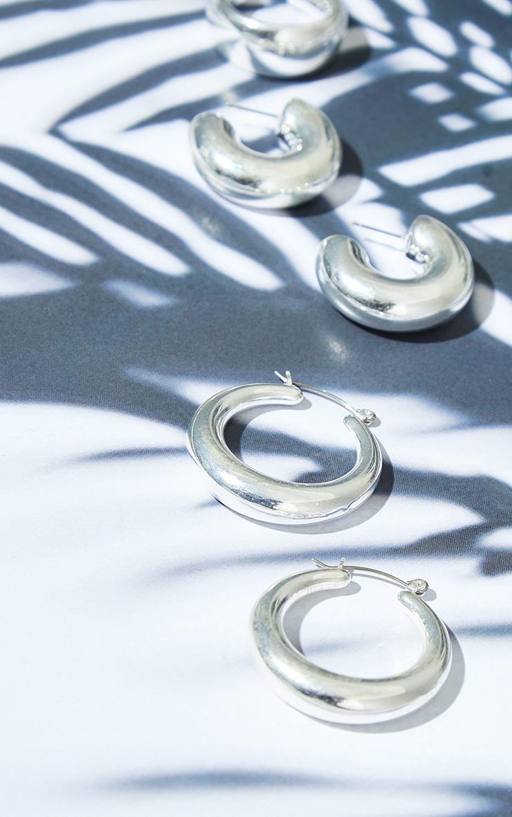 Silver 3 Pack Assorted Tubular Hoop Earrings 2