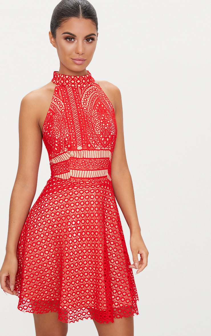 Red Lace High Neck Skater Dress  1