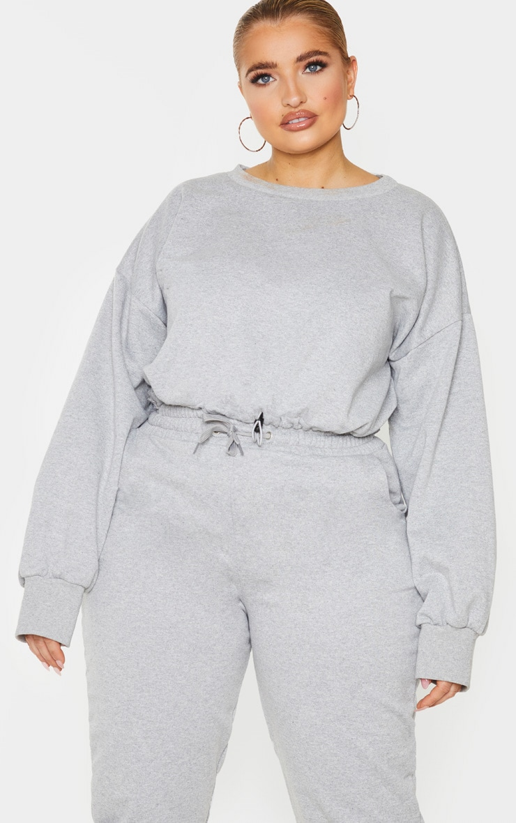 Plus Grey Basic Gym Sweat Top 1