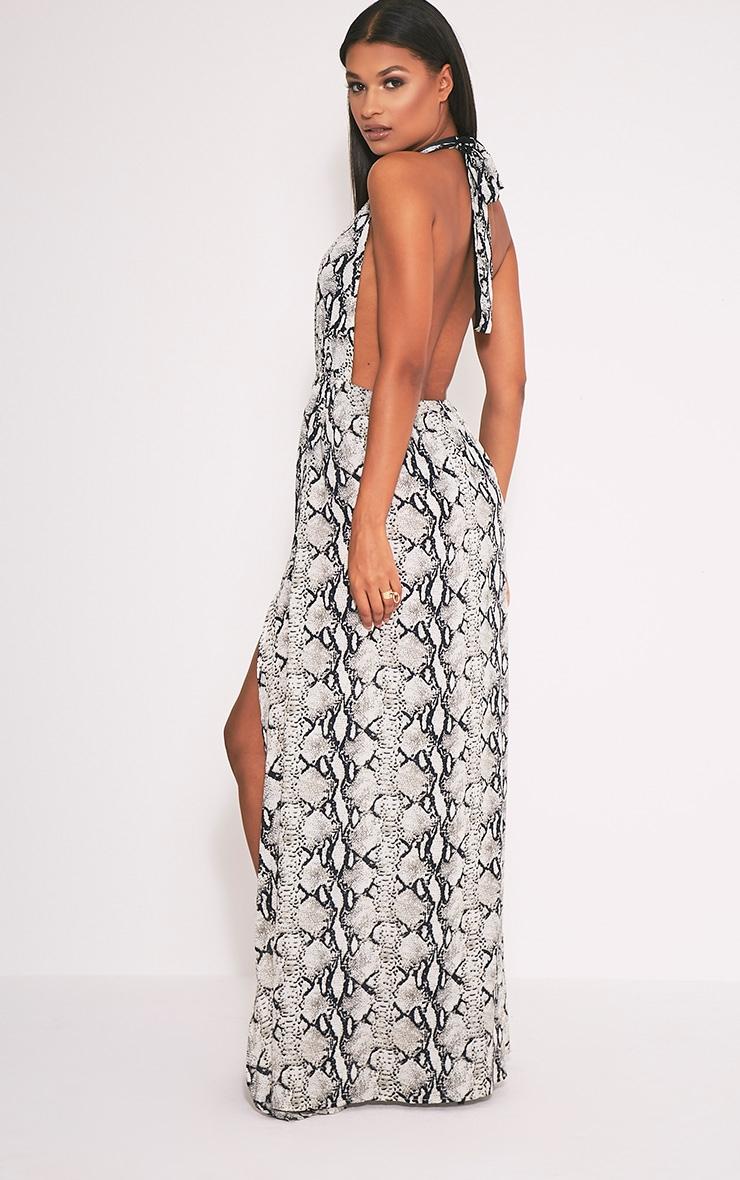 Alina robe maxi chair décolleté plongeant imprimé serpent 4