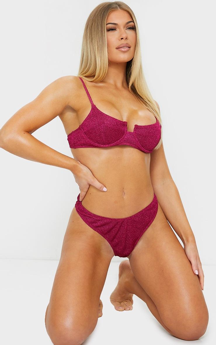 Raspberry Glitter High Leg Thong Bikini Bottoms 3