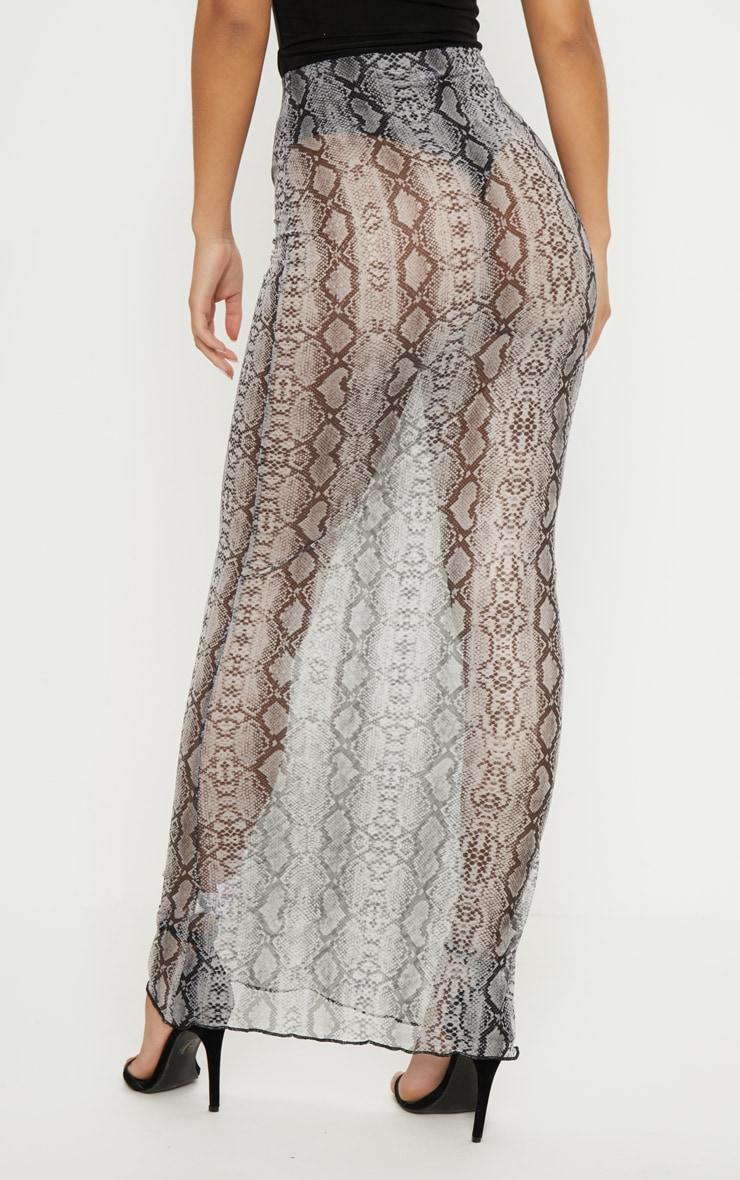 Grey Snake Print Mesh Maxi Skirt  4