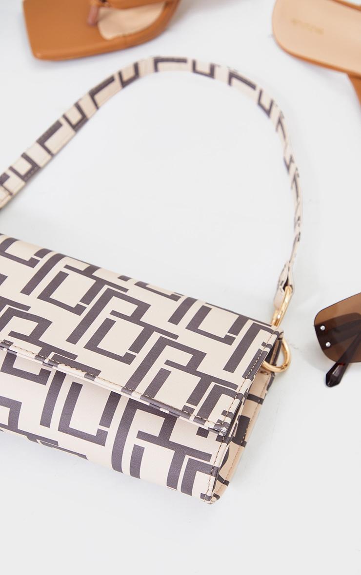 PRETTYLITTLETHING Tan Monogram Shoulder Bag 4