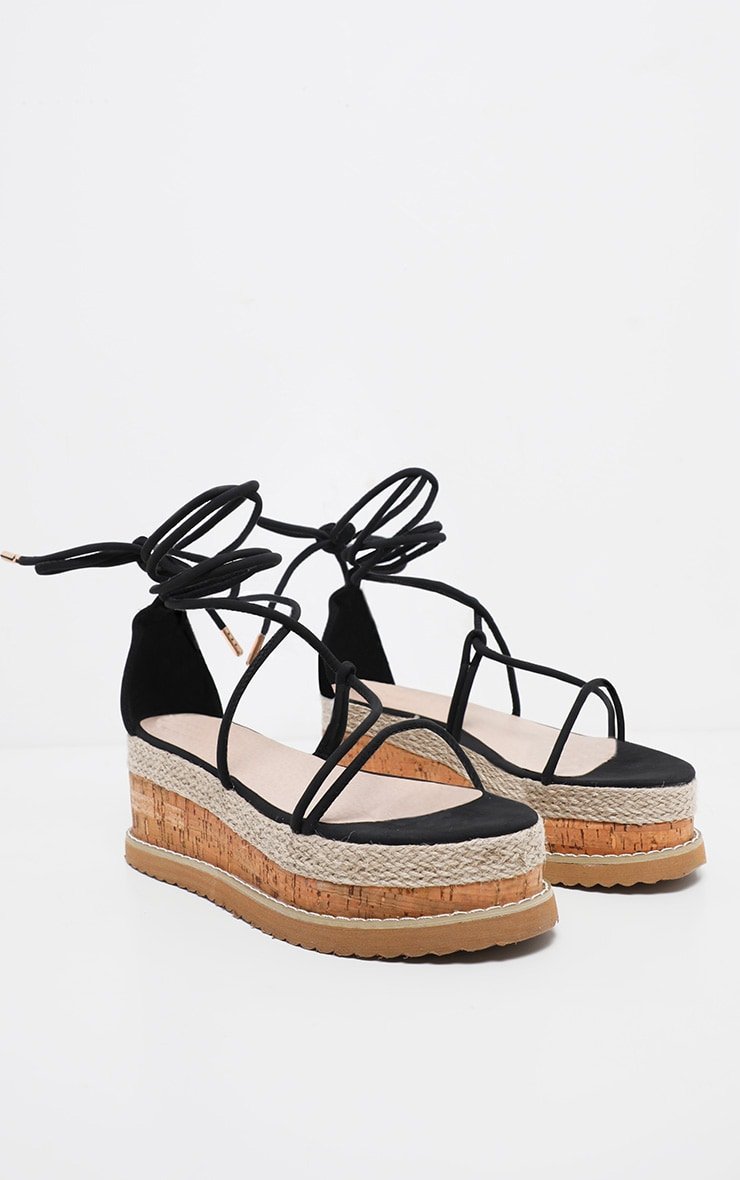 Black Lace Up Strappy Flatform Sandal 3