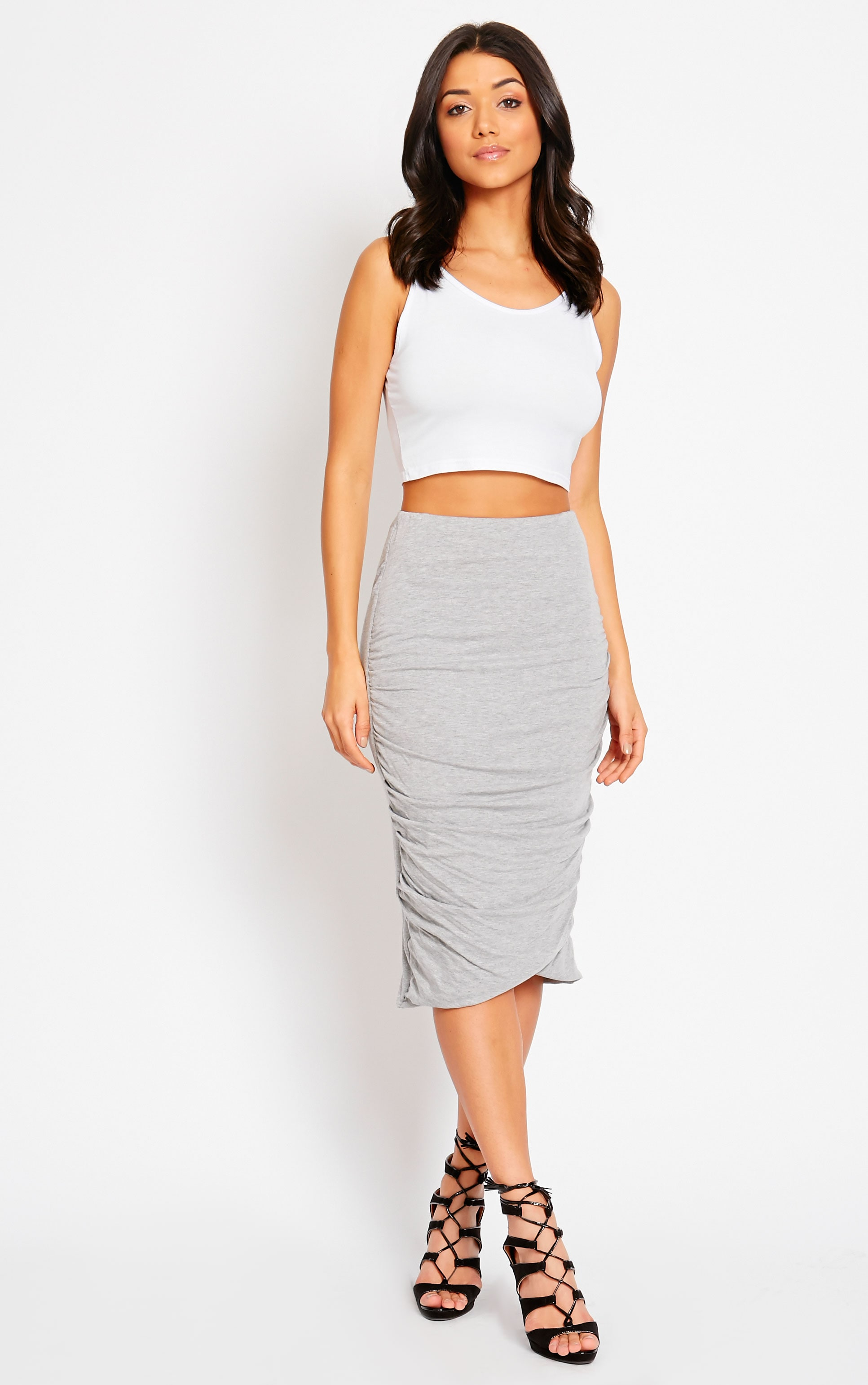 Asia Grey Jersey Ruched Midi Skirt 1