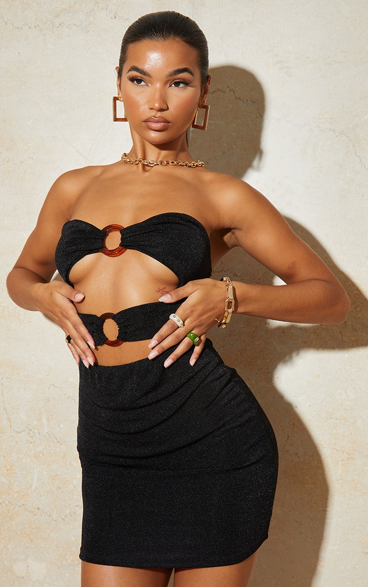 Black Textured Slinky Bandeau Cut Out Ring Detail Bodycon Dress 1
