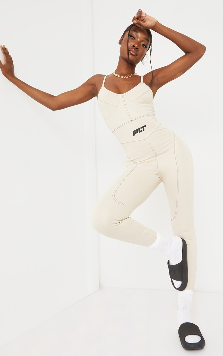 PRETTYLITTLETHING Tall Stone Strappy Contrast Seam Detail Jumpsuit 1