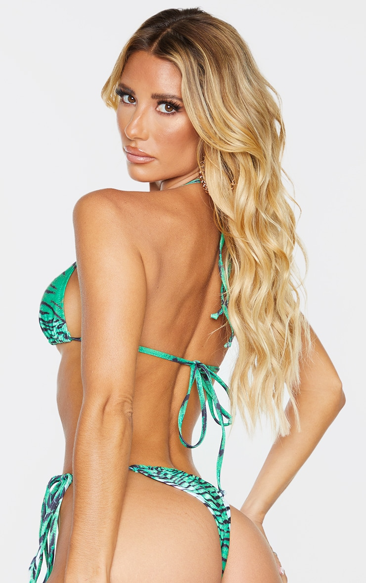 Green Tiger Triangle Bikini Top 2