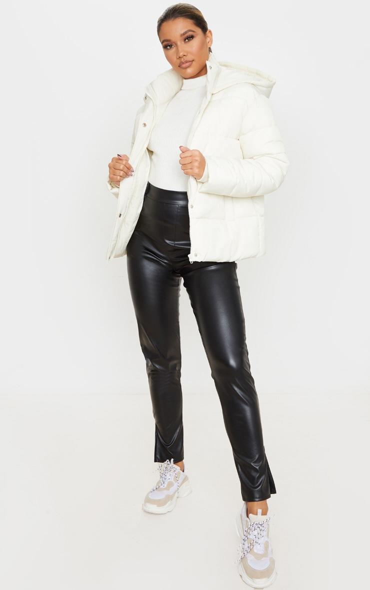 Cream Peach Skin Hooded Puffer Jacket 3