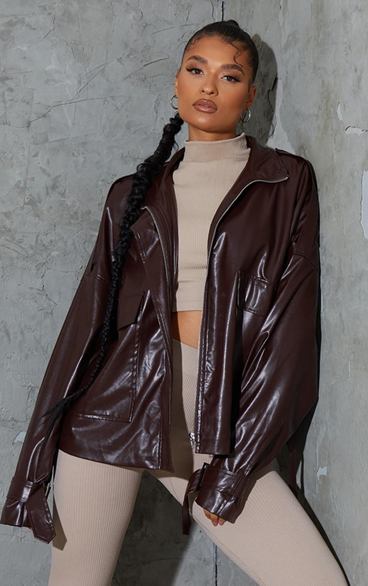 Chocolate Faux Leather Extreme Oversized Biker Jacket 2