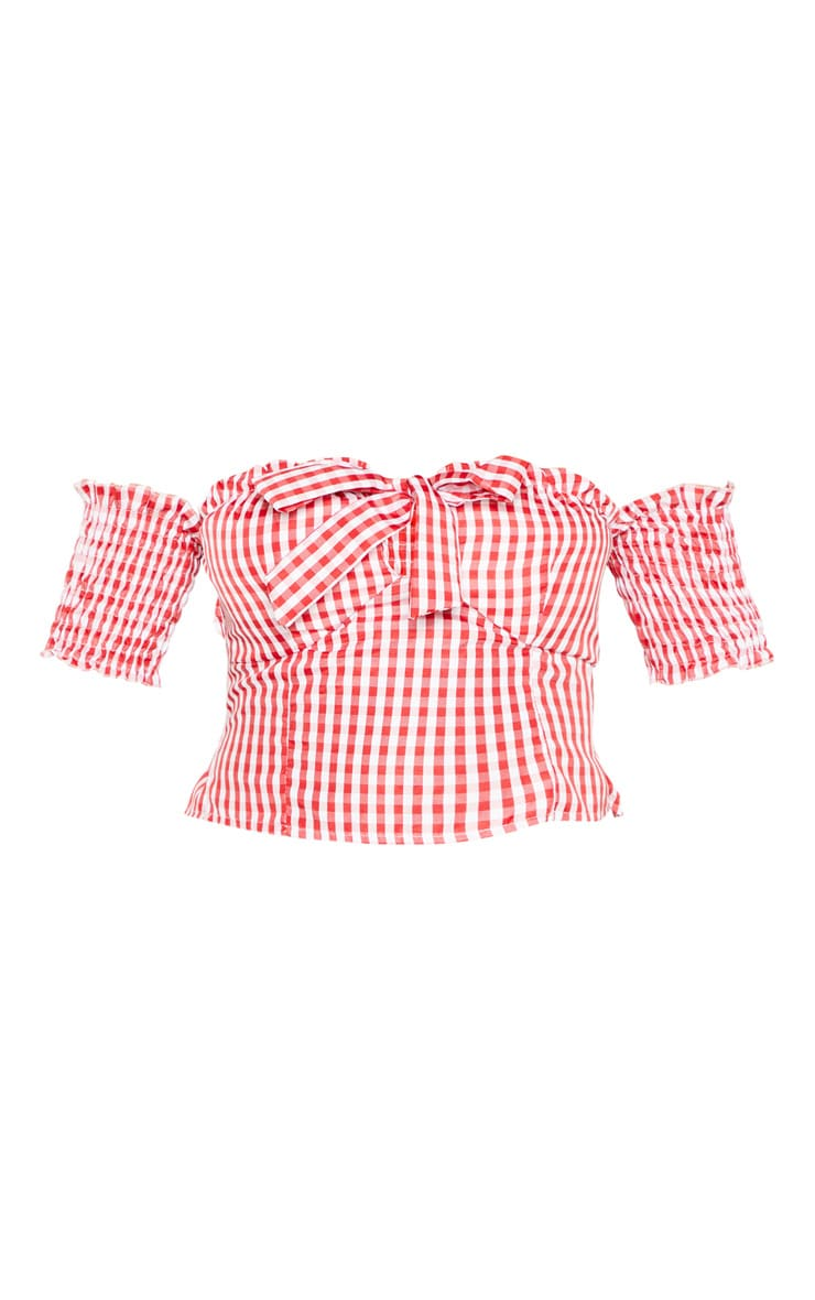 Red Gingham Cup Detail Bardot Crop Top 3
