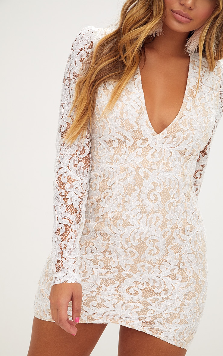 White Plunge Long Sleeved Lace Bodycon Dress  5