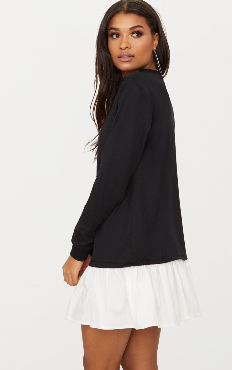 Black Sweater Dress with Poplin Frill  2
