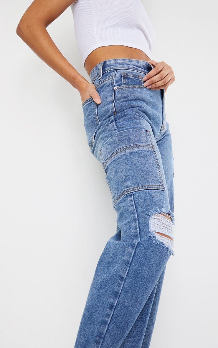 Mid Blue Wash Wide Leg Distressed Cargo Jeans 4