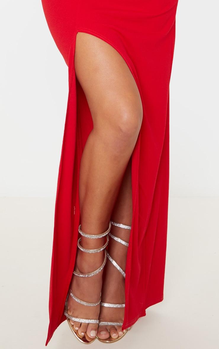 Red Asymmetric Cowl Neck Maxi Dress 5