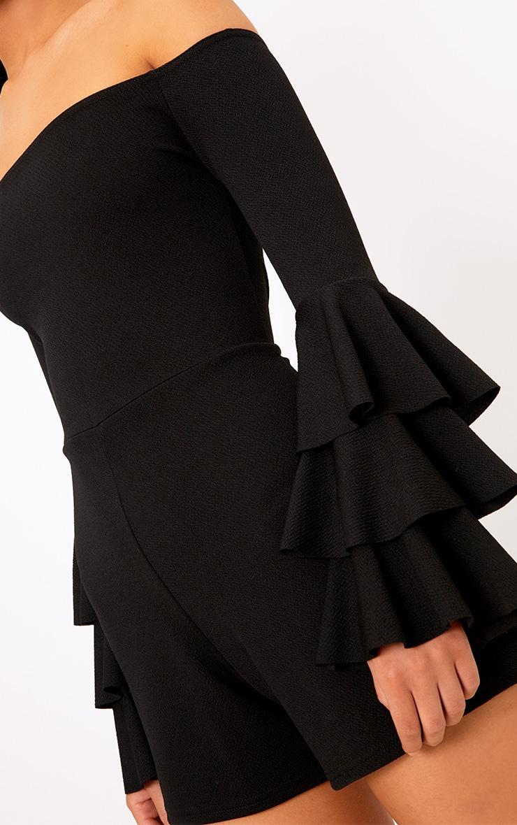Black Frill Layer Bardot Playsuit  5
