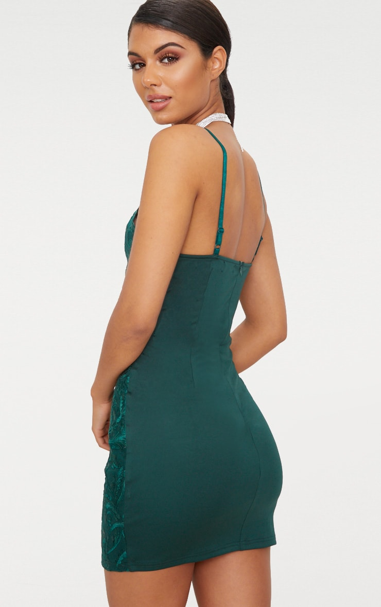 Emerald Green Embroidered Lace Detail Plunge Bodycon Dress 2