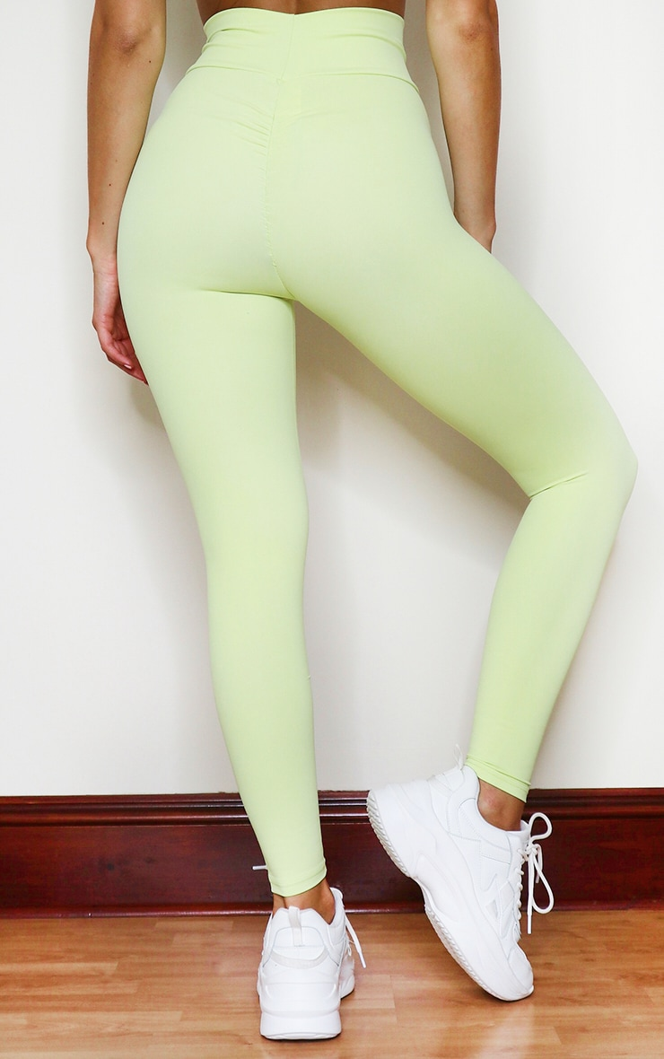 PRETTYLITTLETHING Lime Sculpt Luxe Ruched Bum Gym Legging 3