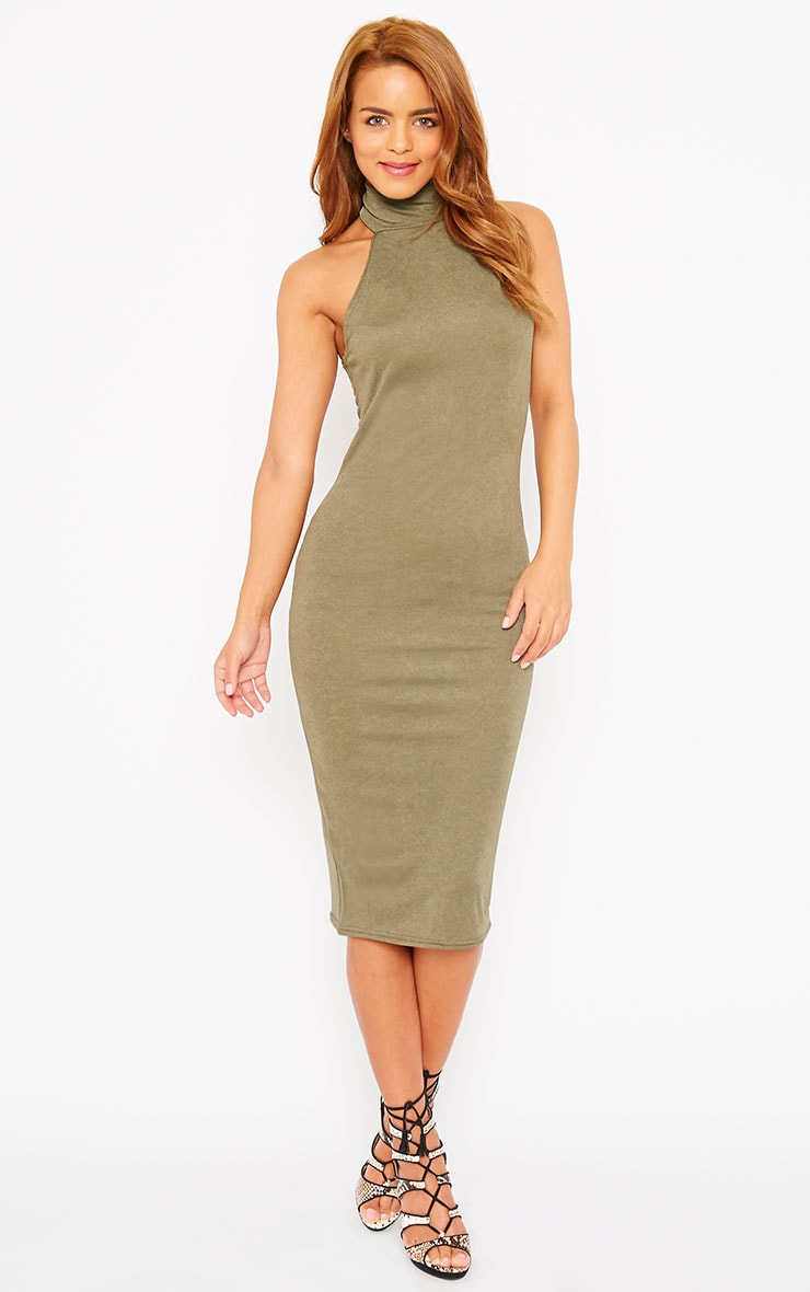 Sara Khaki Polo Neck Midi Dress 1