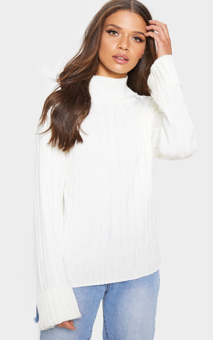 Cream High Neck Rib Sweater 1