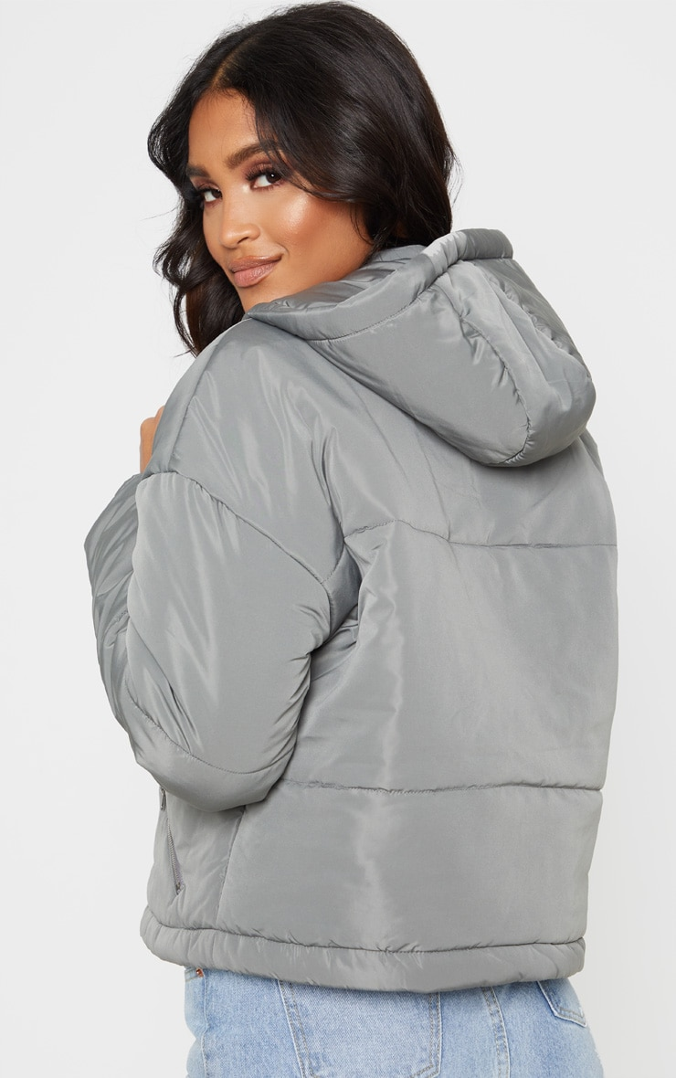 Charcoal Grey Hooded Pullover Puffer Jacket 6