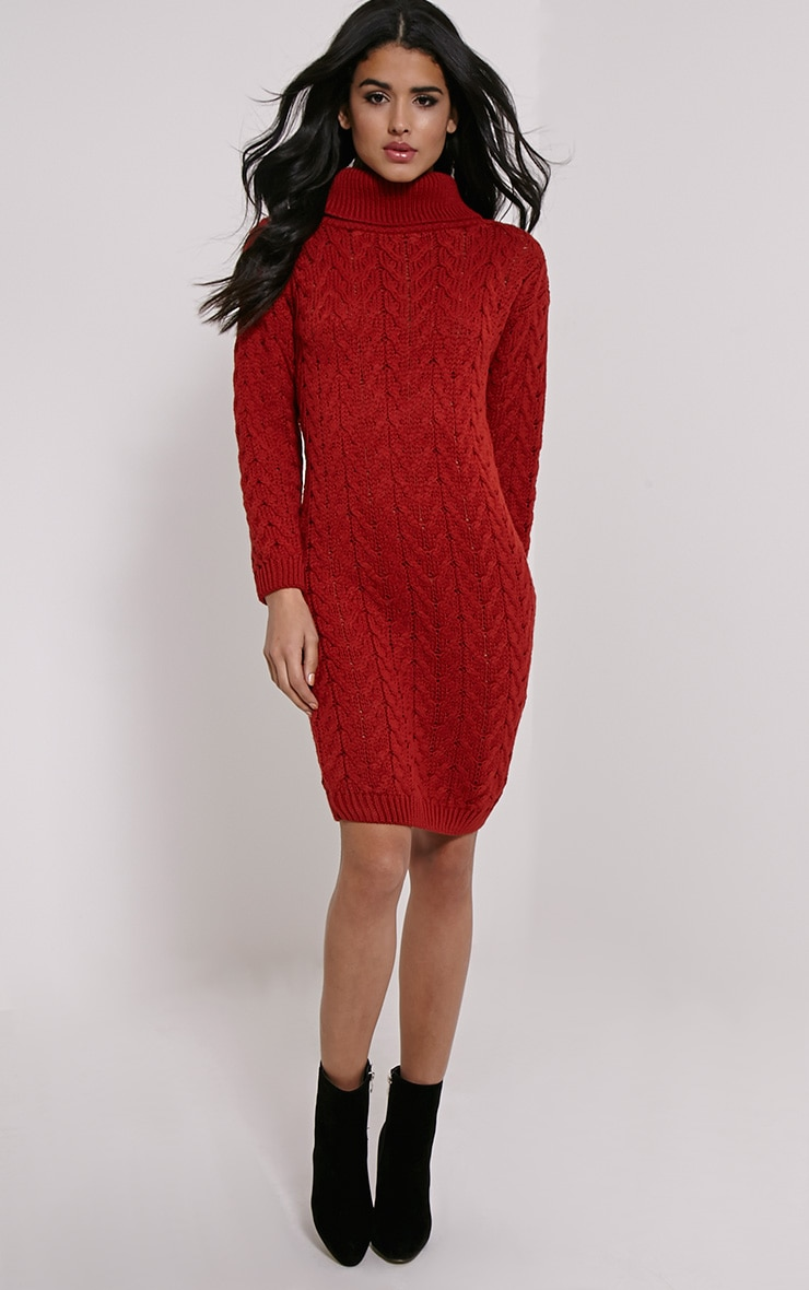 Stormie Rust Cable Knit Long Length Jumper Dress 4