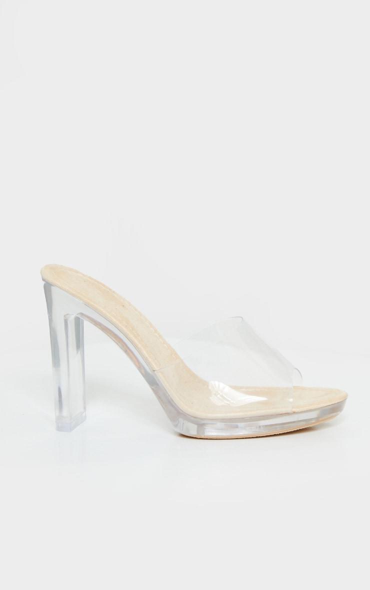Nude Clear Heel Mules 4
