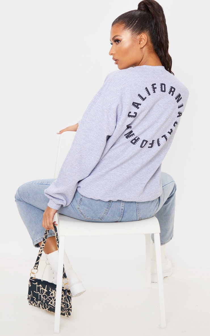Grey California Slogan Oversized Sweater 2