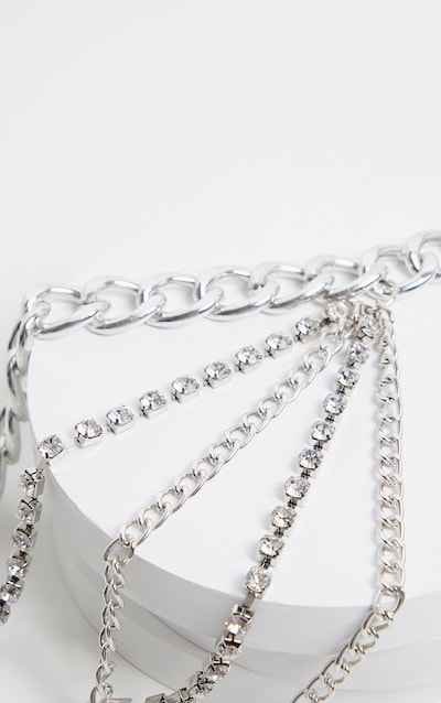 Silver Chunky Multi Layering Chain Belt