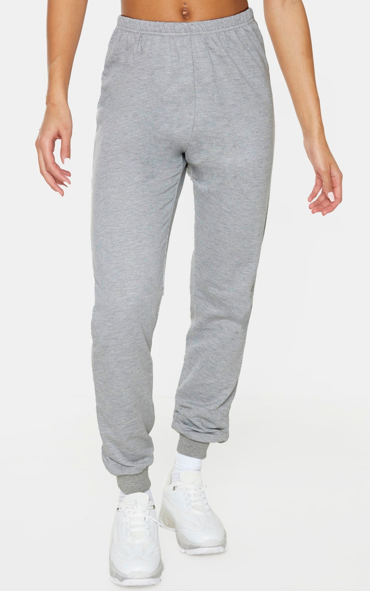 Jogging skinny gris chiné clair 2