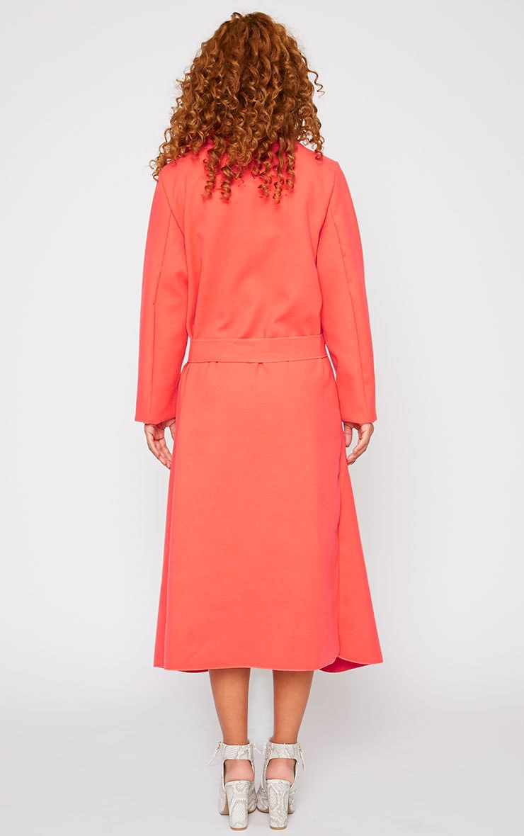 Veronica Coral Oversized Waterfall Belt Coat 2