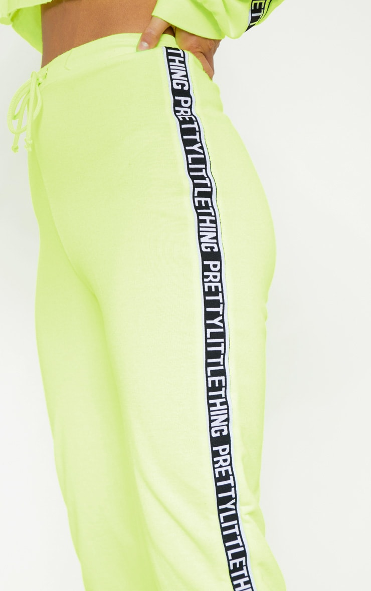 PRETTYLITTLETHING Petite Neon Lime Joggers 4