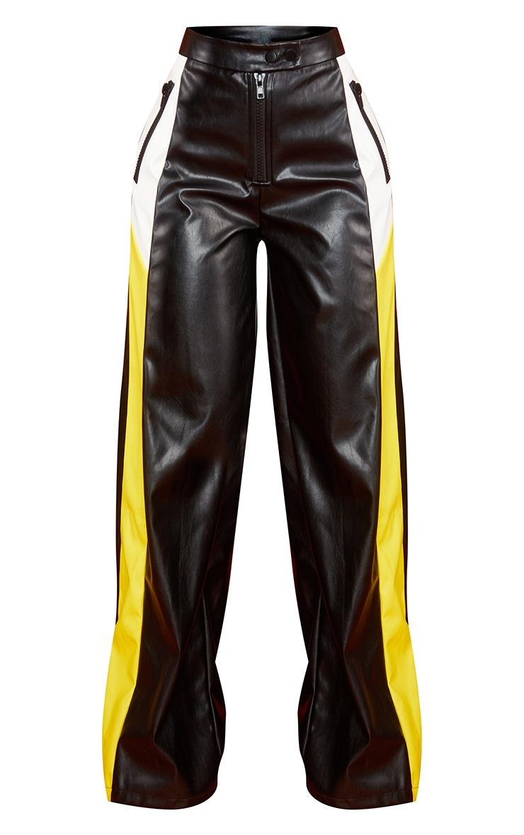 Petite Black PU Stripe Wide Leg Pants 5