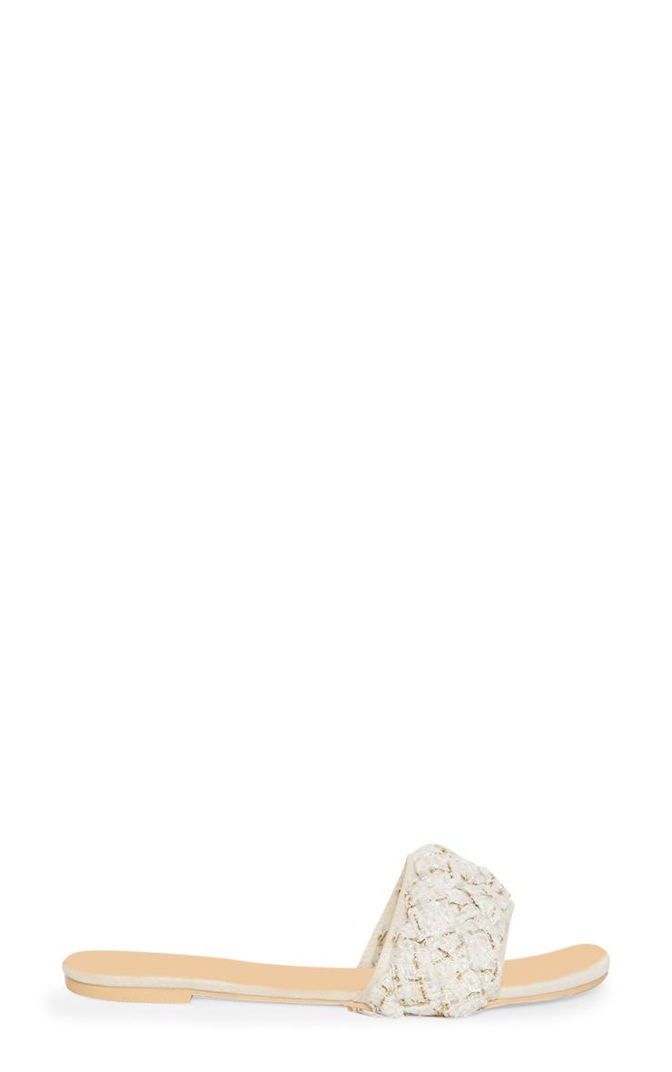 Cream Plaited Strap Mule Sandal 4
