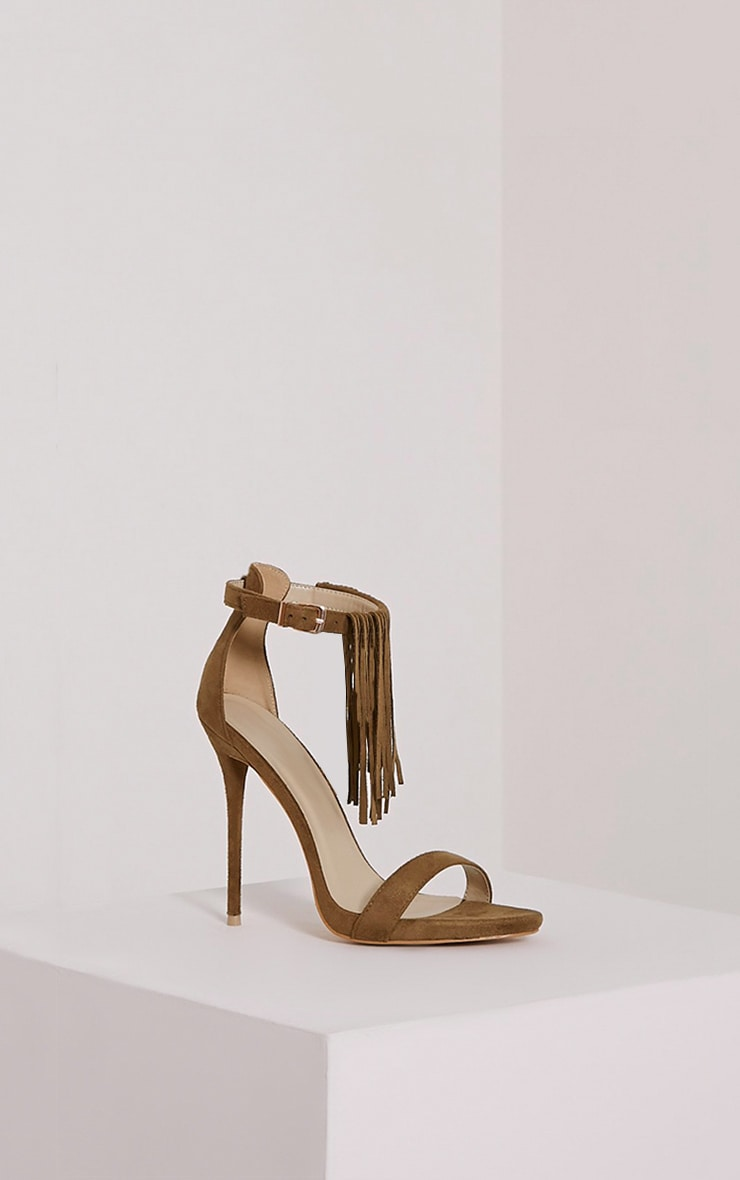 Billie Khaki Faux Suede Fringed Heeled Sandals 3