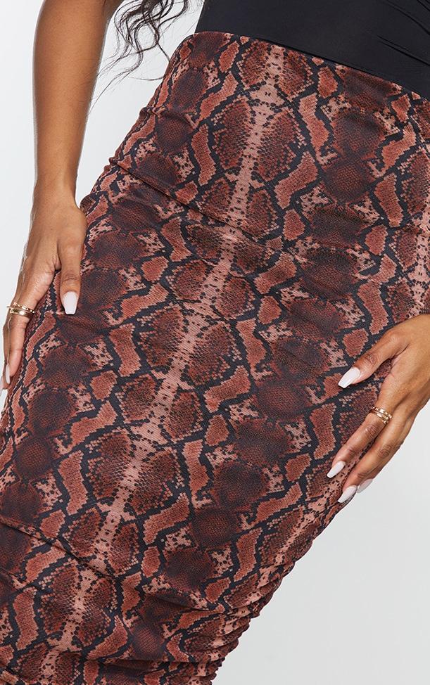 Rust Snake Mesh Ruched Midi Skirt 4