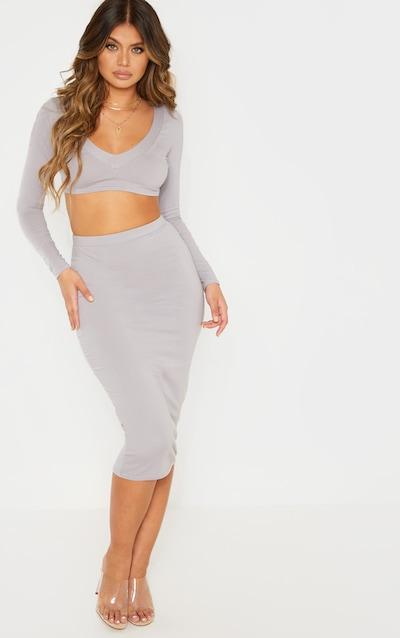 98f95f680dd Dove Grey Cotton Midaxi Skirt