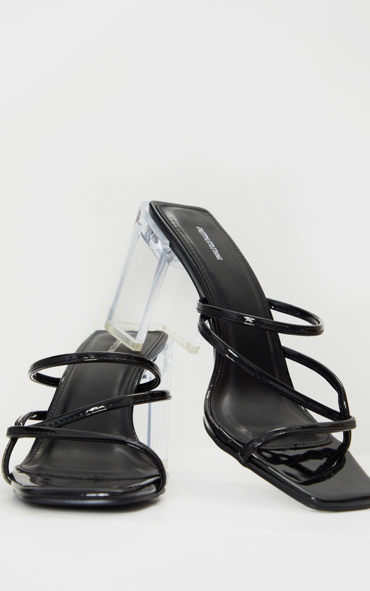 Black Clear Block Heel Square Toe Side Knot Mules 4